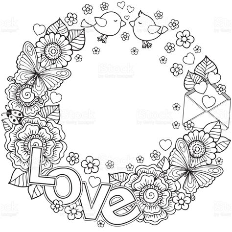 Vector Coloring Page For Adult Rounder Frame Made Of Free Printable Coloring Wreath Pages
