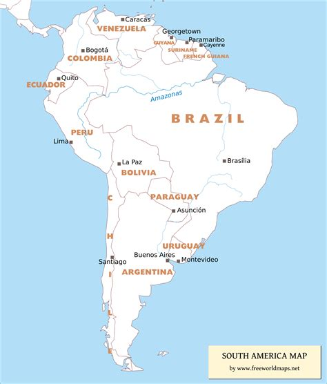 south america map countries and capitals quiz free pdf maps of south america