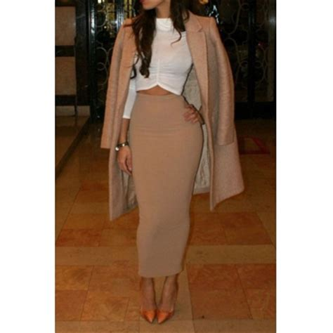 fashion solid beige polyester sheath ankle length skirt