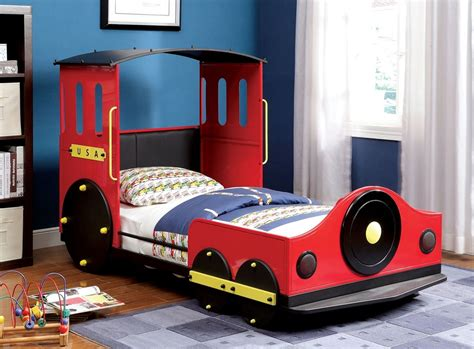 kids train bed twin size retro express sturdy metal construction train