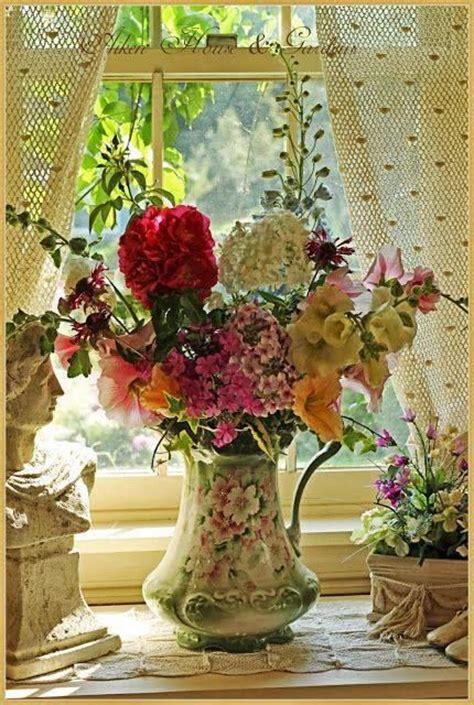 flowers  antique pitcher pictures   images