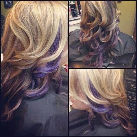 hair color pictures blonde purple lowlights curly blonde hair with purple peek a boo highlights