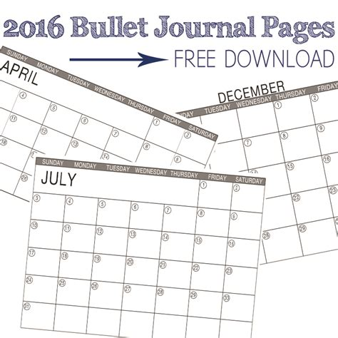 printable journal calendar 2015 2016 printable bullet journal calendar pages are here
