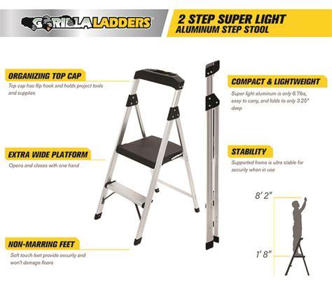 Gorilla 2 Step Aluminum Step Stool by Gorilla Ladders 2 Step Aluminum Step Stool Ladder With 225