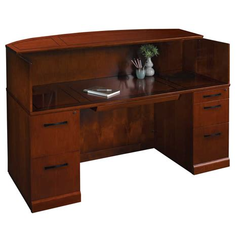 mayline sorrento reception desk mayline sorrento reception desk in bourbon cherry srcdscr