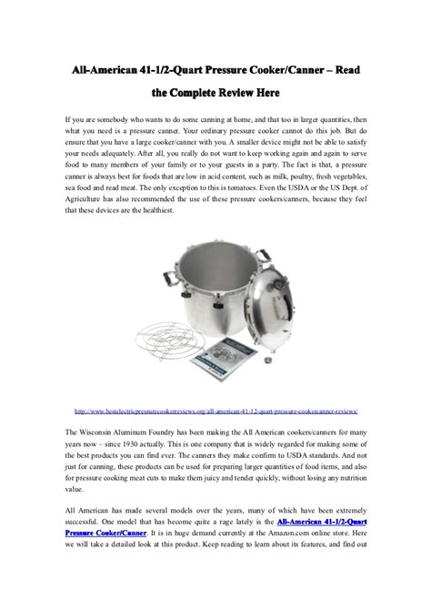 the complete pressure cooker and all american pressure cooker canner the complete review