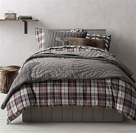 plaid boys bedding lodge plaid moose flannel bedding collection this
