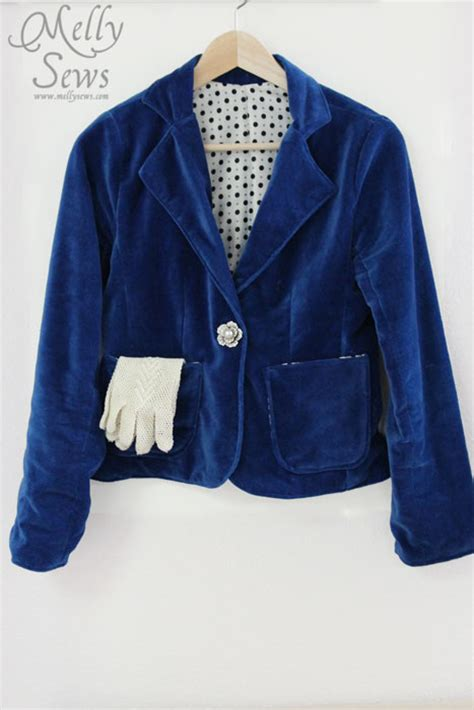 womens blue patterned jacket womens blazer pattern and blazer sew along melly sews