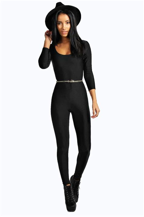 best catsuit marti basic sleeve disco catsuit at boohoo