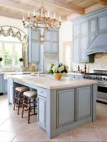 Pale Blue Kitchen Cabinets Country Kitchen Limestone Marble Beamed Ceiling Pale Blue Cabinets Arched Window