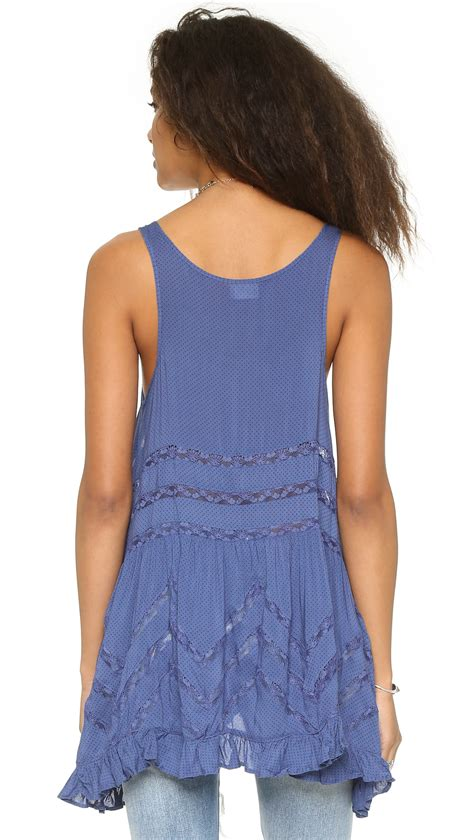 Dress Tunik Denim Free Belt Kemeja Dress Denim free trapeze tunic dress denim blue in blue lyst