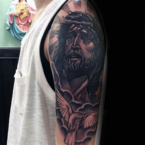 jesus tattoo with clouds 60 jesus arm tattoo designs for men religious ink ideas