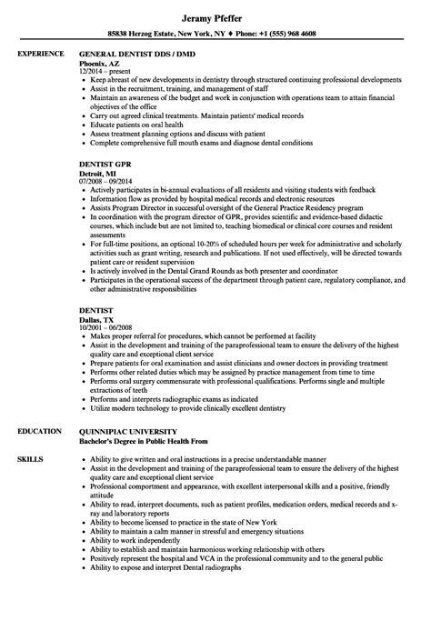 Dentist Resume by Dentist Resume Sles Velvet