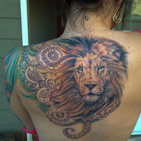 colorful lion tattoo henna with tattoos colorful