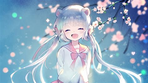 anime girl happy face twintails aqua