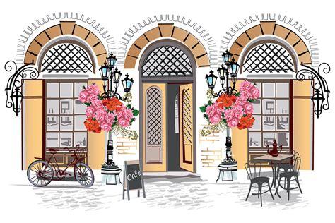 Cafe Exterior Wallpaper for Wall Decor