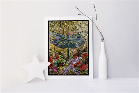 dragonfly nouveau print home decor 8x10 by theladybugcabin