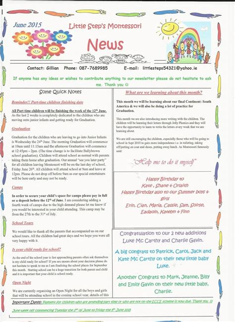 Summer Newsletter Ideas Pictures To Pin On Pinterest Pinsdaddy Montessori Newsletter Templates
