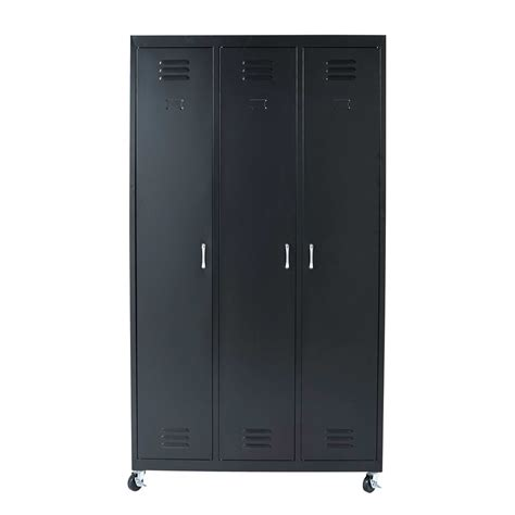 Armoire With Hanging Space Black Metal Wardrobe On Wheels L 105 Cm Loft Maisons Du