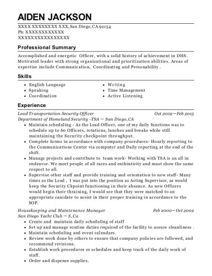 transportation security officer resume sle department of homeland security tsa lead transportation