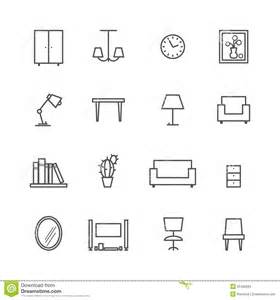 Architectural Symbols Floor Plan line furniture icons stock vector image 55456584