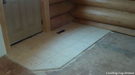 log floor ceramic tile in log home cowboy log homes