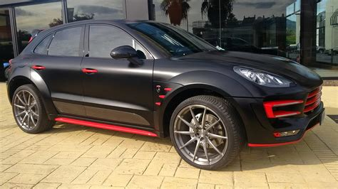 porsche dark red porsche macan ursa by topcar gets unique black and red