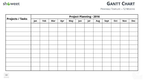 Free Printable Gantt Chart Template Gantt Charts And Project Timelines For Powerpoint