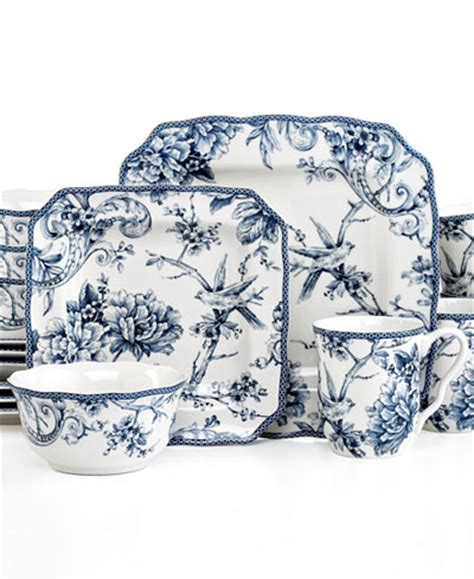 Cafe Set Adelaide Blue 222 fifth adelaide blue square 16 pc set service for 4 dinnerware dining entertaining