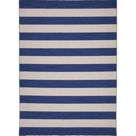 Blue Striped Area Rug Handmade Flat Weave Striped Wool Blue Area Rug 9 X 12