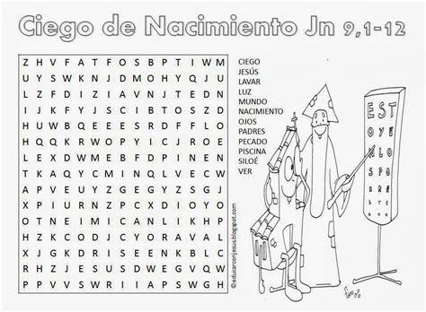 preguntas biblicas del nacimiento de jesus educar con jes 250 s ciego de nacimiento jn 9 1 12 sopa letras