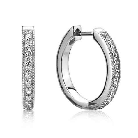 Jude Frances 18 Karat White Gold Small Diamond Hoop