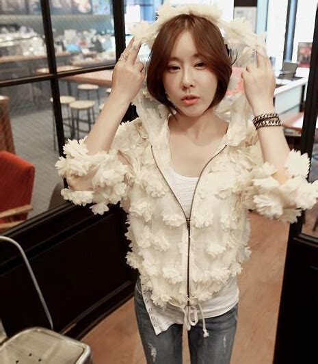 One Shoulder 3d Flower Simple Korean Silk3352 korean collection coat slim fit 3d flower autumn leisure style wear