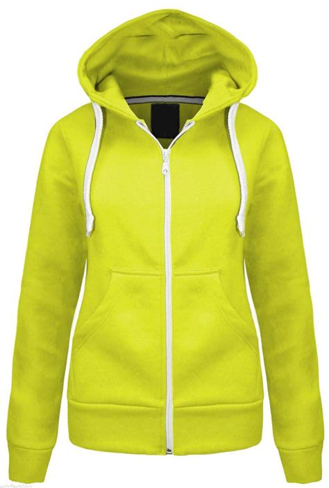 Plain Zip Detail Zip Jacket womens plain hoodie fleece sweatshirt hooded coat