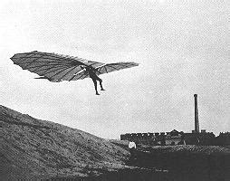 picture of lilienthal's glider in flight.