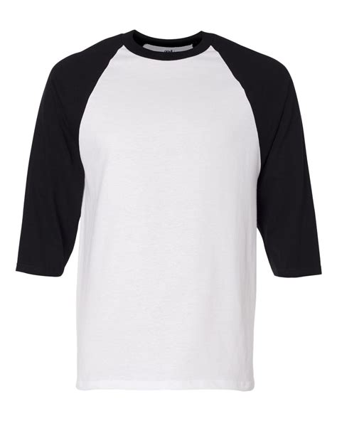 black sleeve shirt template anvil mens 3 4 sleeve baseball jersey t shirt raglan team