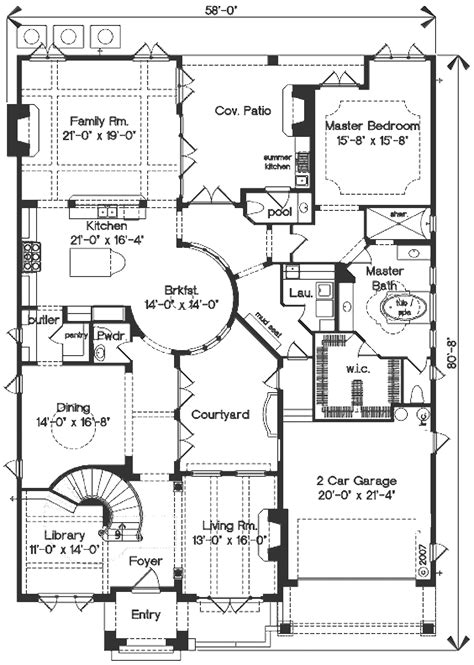 Mediterranean Style House Plan   4 Beds 3.5 Baths 4923 Sq