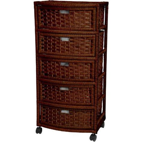 Wicker Storage Drawers Bathroom Wicker 5 Drawer Dresser Casters Wheels Bathroom Bedroom Storage Cabinet Rattan Ebay