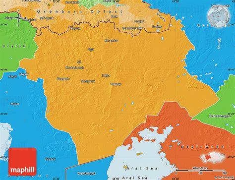 map world kazakhstan political map of aktyubinsk