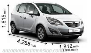 Vauxhall Meriva Length Dimensions Of Opel Vauxhall Cars Showing Length Width