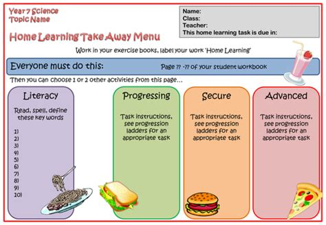 learning menu template home learning take away menu template by ttxny2 teaching