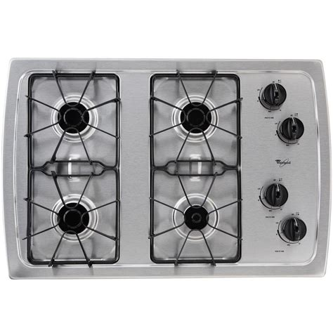 whirlpool gas cooktop 30 whirlpool 30 in gas cooktop in stainless steel with 4