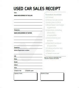 used car sale receipt template used car sales invoice template uk hardhost info