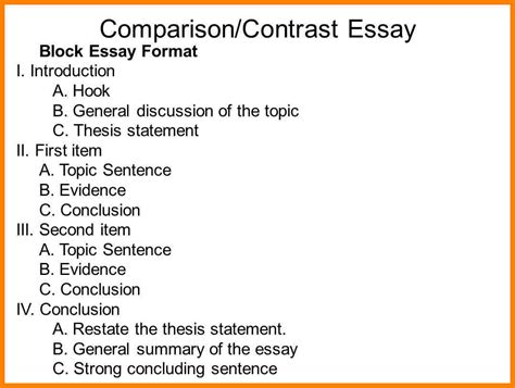 Compare And Contrast Essay Outline Format by 9 Outline For Compare Contrast Essay Address Exle
