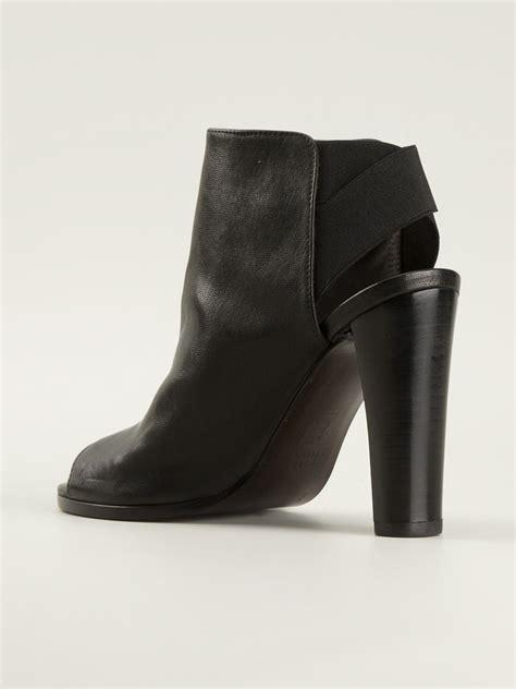Chunky Heel Peep Toe Sandals lyst stuart weitzman peep toe chunky heel sandals in black