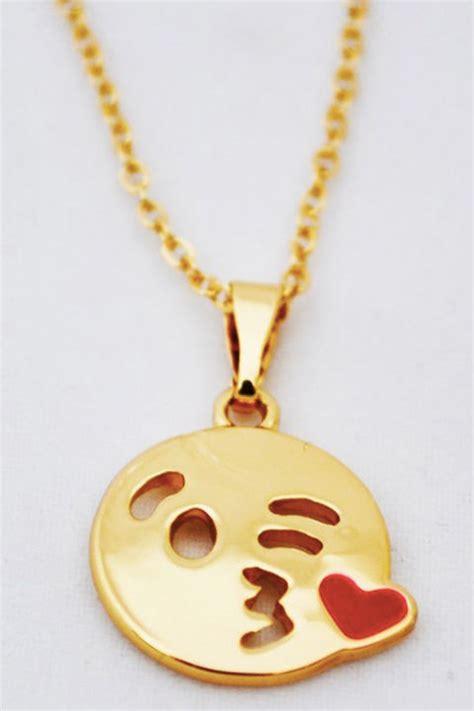 emoji necklace gold kiss emoji necklace necklaces jewelry shop