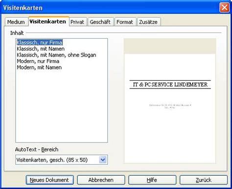 Visitenkarten Libreoffice by Tutorial Visitenkarten Erstellen Mit Libreoffice Writer 2 5