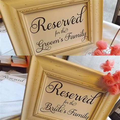 wedding table signs reserved for s family and reserved for groom s