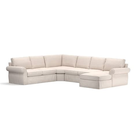 4 piece sectional with chaise pearce slipcovered 4 piece chaise sectional with wedge