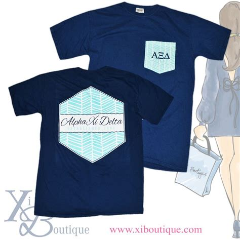 comfort colors shirt design alpha xi delta adorable aqua white herringbone designed
